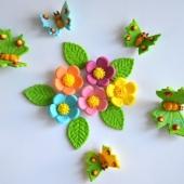 """Decoraţie de zahăr """"Set flori şi fluturi"""""""